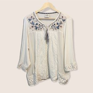 Knox Rose White Embroidered Boho Blouse